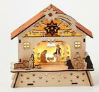 180 Degrees Wood Lighted Nativity Creche Scene Holy Family Animals and Wise Men