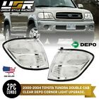CLEAR Front Corner Signal Lights Set w Bulbs Fit For 01 02 03 04 Toyota Sequoia