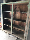 Primitive Antique Country Farm Cabinet Cupboard Shelves Old Green Paint LARGE