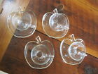 Set of 4 Cup and Apple Shaped Saucers Vintage Clear Glass autumn fall harvest