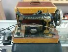 Singer Sewing Machine Gold Sphinx Model 27? With Case Motor Runs For Service