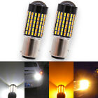 2pcs BAY15D 1157 Dual Color White Amber LED Switchback Turn Signal Light Bulbs