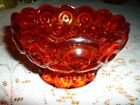 MOON AND STARS RED ORANGE VINTAGE  GLASS CANDY DISH