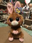 "Ty HOPSON -Brown/Pink MWMTs Easter Rabbit 6"" Beanie Boo! *Retired* RARE & VHTF!!"