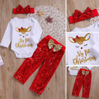 Cute Newborn Baby GirlMy 1st ChristmasRomper Sequin Pants 3Pcs Outfits Clothes