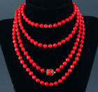 Antique Red Czech Glass Necklace Hand Knotted Faceted Beaded VTG Long Jewelry