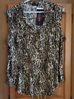 Cocomo Animal Print Short Sleeved Pleated Front Top with Button Up Neck Size L