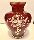 Bohemian Czech Crystal Vase Ruby Red Glass W Hand Painted Enamel Flowers + Gold