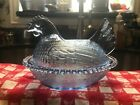 Vintage Indiana Light Blue Glass Hen on Nest Chicken Covered Dish Beaded Edge