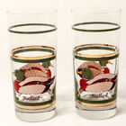Set of 2 Vintage Libbey Mallard Duck 24kt Gold Trim Highball Glasses