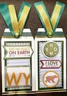 Premade Scrapbook Page SEWN Tags EmbellishSet of 2 Large Wyoming
