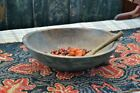 Large Antique Wooden Bowl in Early Original Green Paint