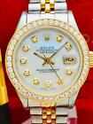 Estate ROLEX Datejust 18K & SS Diamond Mother Pearl Dial Bezel 26mm Ladies Watch