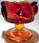 L. E. Smith Amberina Candy Dish Compote Orange Vintage Exquisite Old