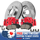 Front Red Brake Calipers And Rotors + Pads For 1999 2000 2002 Nissan Frontier