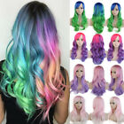 Rainbow Wigs Women Long  Wavy Curly Party Cosplay Ombre Hair Wig Purple Green XC