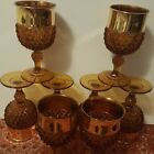Set 8 Vintage Indiana Glass Diamond Point Amber Wine Goblets 24 kt Gold Band