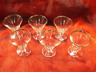 6 Vintage Mid Century Silver Trim Clear Glass Oyster Fruit Cocktail Stemware