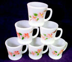 6 Vintage FIRE KING Coffee MUG Lot PEACH BLOSSOM Tea Cup D HANDLE Gay Fad SET