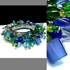 Blue  Green Glass Beaded Cha Cha Bracelet