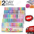 Gel Pens 160 Colors Set Glitter Metallic Neon Colors for Adult Coloring Books
