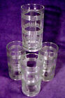 4 Vintage ANCHOR HOCKING Tumblers CRISSCROSS Glass LOT Crystal SET Water HEAVY