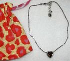 Brighton Amber Glass Heart Silver Necklace New NWOT + Pouch