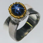 fine art Natural Blue Star Sapphire 925 Sterling Silver Ring Size 65 R43555