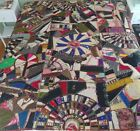 Crazy Quilt Sampler Victorian Antique Hand Stitched Fans Dated c1890s Lot 9 of 9