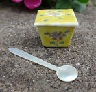1900 Tiny Oriental Yellow Porcelain Open Salt Dip Cellar Dish w Pearl Spoon