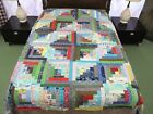 Other Cotton Hand Pieced LOG CABIN BARN RAISING Quilt TOP