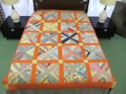 NEEDS LAUNDERING Vintage Feed Sack Hand Sewn X PATTERN Quilt w/ Sugar Sack Back