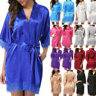 Womens plain Silk Satin Robes Bridal Wedding Bridesmaid Bride Gown bath robe USA