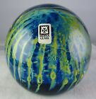 Mdina Art Glass Paperweight Controlled Bubble Yellow  Blue Signed