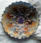 Fenton HOLLY Cobalt Blue Carnival Glass 9 pedestal plate serving dish