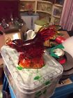 LE Smith red amberina rooster figurine