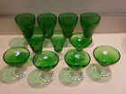 VINTAGE SET OF ELEVEN EMERALD GREEN BURPLE BOOPIE BUBBLE GLASSES
