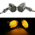 LED Brake Running Turn Signals Amber Light Chrome 10mm For Honda Yamaha Bobber G