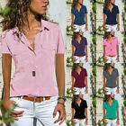 Womens Short Sleeve V Neck Zip Up Chiffon Tops Casual Blouse Loose Tunic T Shirt
