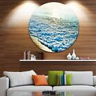 Designart Bright Blue Tranquil Seashore Beach Disc Metal Wall Art