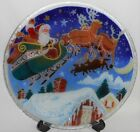 2001 Signed PEGGY KARR Hand Crafted FUSED GLASS Santa Sleigh ROUND PLATTER