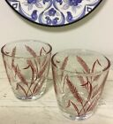 2 Vintage Hazel Atlas Breakstone Half Pint Sour Cream Glasses Red Wheat Pristine