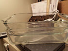 2 bread loaf pans 1 Fire King and 1 unknown brand 1 QT clear glass 9