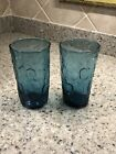 DECATUR TEXAS TEX GLASS THUMBPRINT BLUE ICED TEA TUMBLER(S)