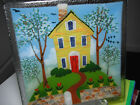 Peggy Karr Fused Art Glass Plate Square 10 inch House plate red door