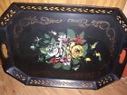 Vintage Metal Tole Painted Serving tray. 16.1/2
