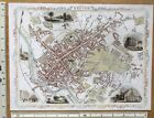 Old Antique colour map of Exeter, England: 1800's, 1851 12