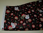 Quilting Treasures quilt fabric FLOWERS  WOLF HEAD black 2 yds 26135 j Sale