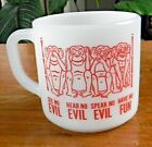 Vintage FEDERAL White Milk Glass MONKEY MUG See Speak Hear No Evil HAVE NO FUN !