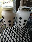 Vintage Anchor Hocking Black Polka Dot Salt and Pepper Shakers